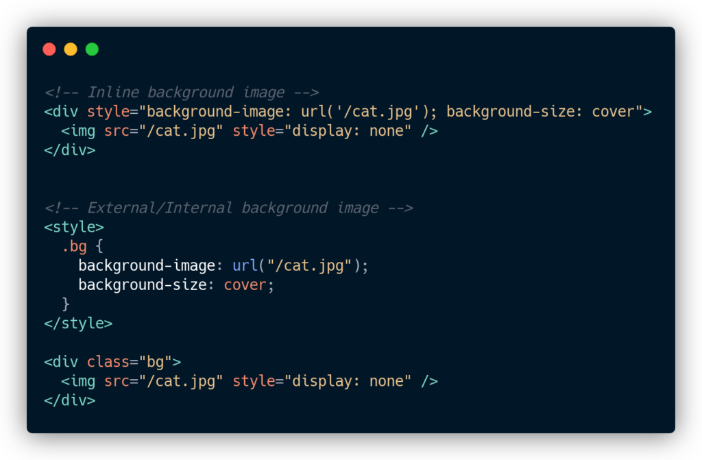 IMG tag with 'display: none' hack