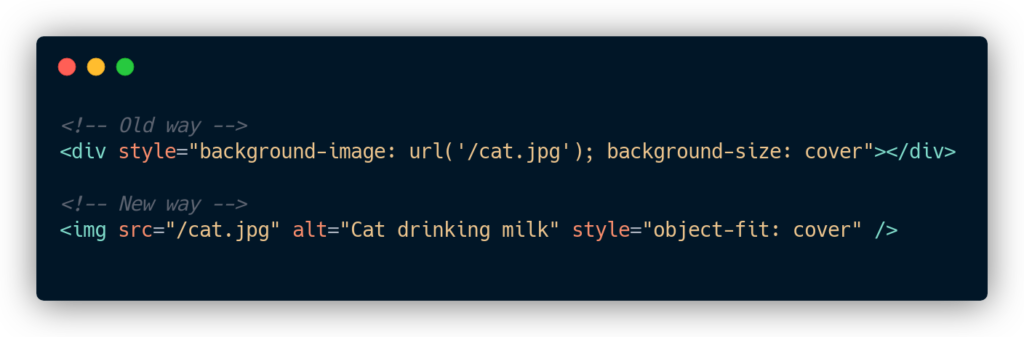 Use IMG tag with object-fit